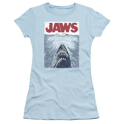 Jaws Graphic Poster Women's Blue Tshirt