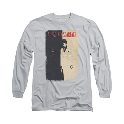 Scarface Vintage Poster Gray Long Sleeve T-Shirt