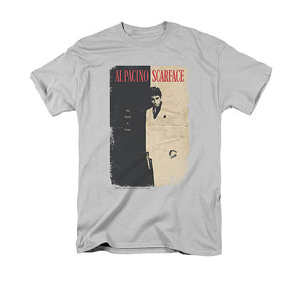 Scarface Men's Gray Vintage Poster Tee Shirt