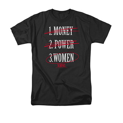 Scarface Men's Black Money Power Women Tee Shirt