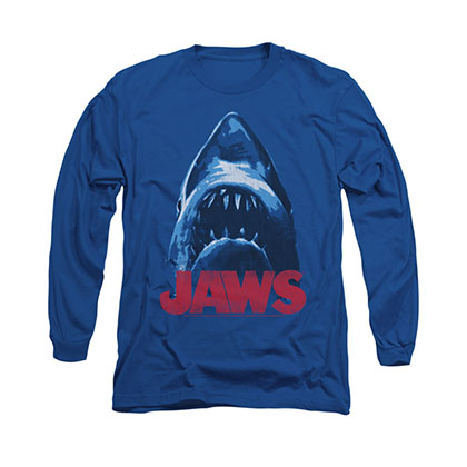 Jaws From Below Blue Long Sleeve T-Shirt