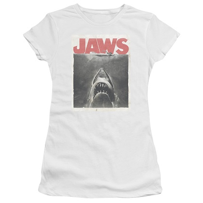 Jaws Poster Women's White Tshirt