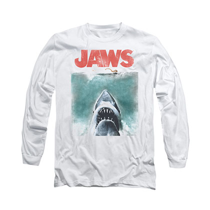 Jaws Vintage Poster White Long Sleeve T-Shirt