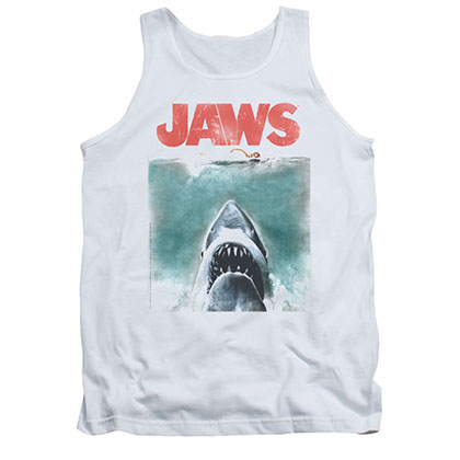 Jaws Vintage Poster White Tank Top