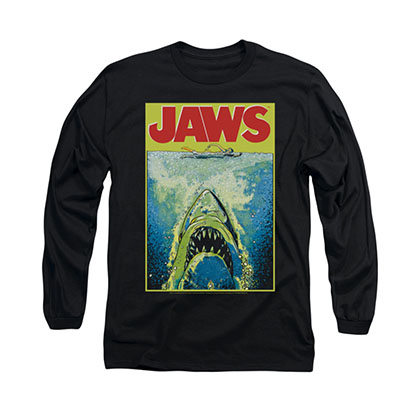 Jaws Bright Poster Black Long Sleeve T-Shirt
