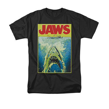 Jaws Bright Poster Black Tee Shirt