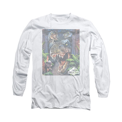 Jurassic Park Giant Door Art White Long Sleeve T-Shirt
