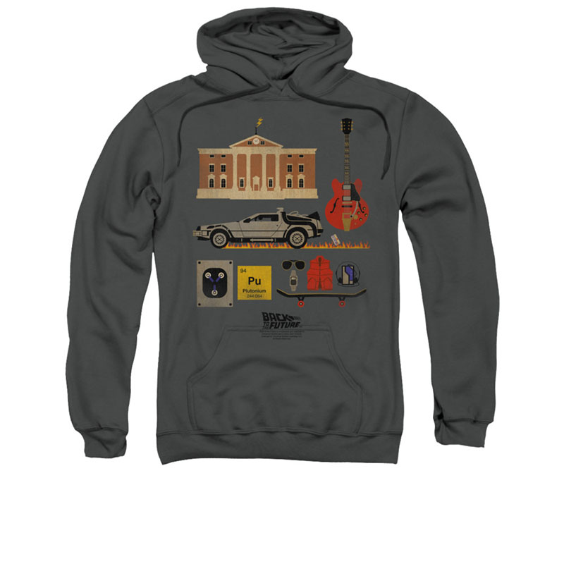 Back To The Future Things Gray Pullover Hoodie
