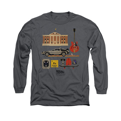 Back To The Future Items Gray Long Sleeve T-Shirt