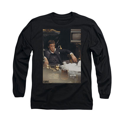 Scarface Sit Back Black Long Sleeve T-Shirt