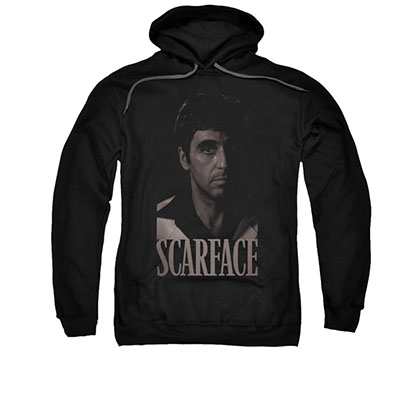 Scarface Black And White Tony Photo Black Pullover Hoodie