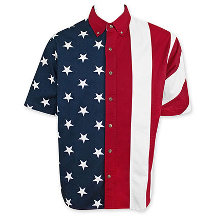 American Flag USA Button Up Dress T-Shirt