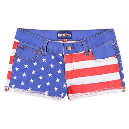 USA Patriotic Juniors Denim Shorts