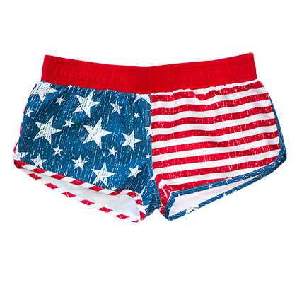 USA American Flag Women's Faded Board Shorts