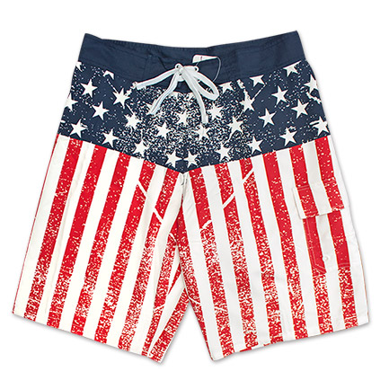 USA Men's Faded American Flag Boardshorts