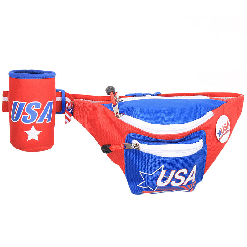 Patriotic USA Vintage Fanny Pack With Can Holder
