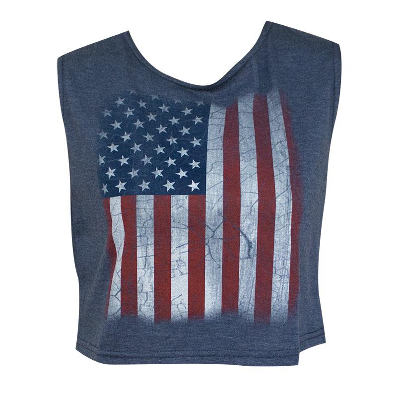 American Flag Patriotic Women's Navy Blue Crop Top