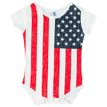 American Flag Baby Infant One Piece Body Snap Suit