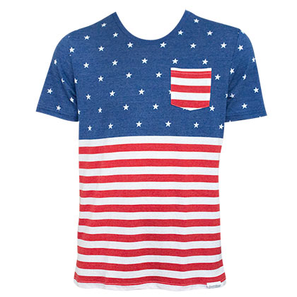 American Flag Patriotic Pocket Men's T-Shirt