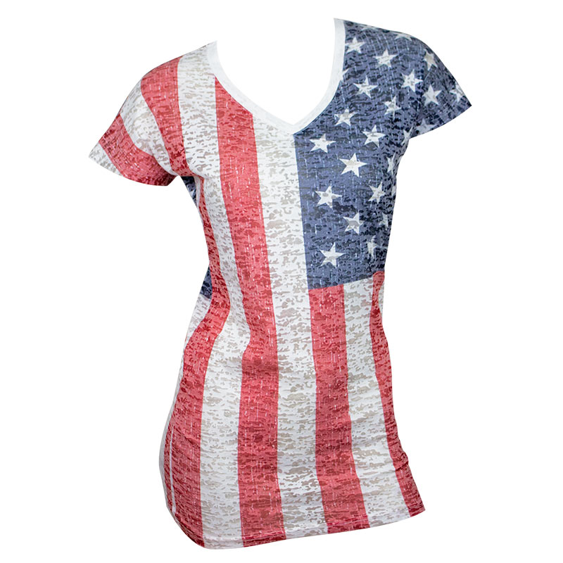 USA American Flag Women's Patriotic T-Shirt