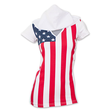 USA Women's Patriotic American Flag Hooded Tee Shirt