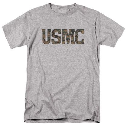 US Marines USMC Camo Logo Grey Tshirt