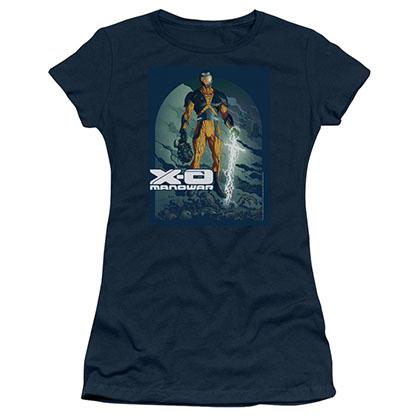 Xo Manowar Planet Death Blue Juniors T-Shirt