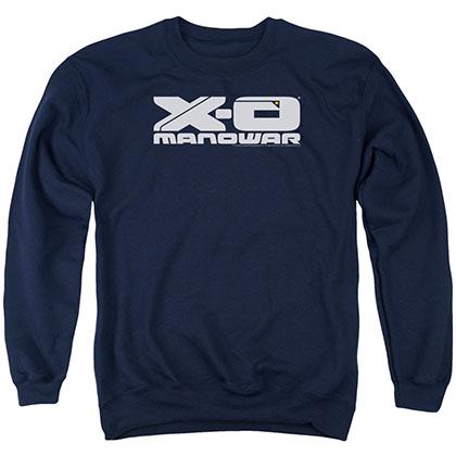 Xo Manowar Logo Blue Crew Neck Sweatshirt