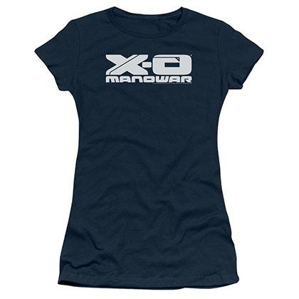 Xo Manowar Logo Blue Juniors T-Shirt