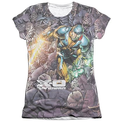 Xo Manowar Surrounded White Juniors Sublimation T-Shirt