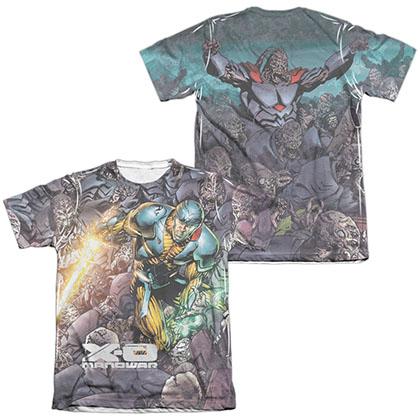 Xo Manowar Surrounded  White 2-Sided Sublimation T-Shirt