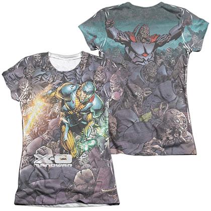 Xo Manowar Surrounded  White 2-Sided Juniors Sublimation T-Shirt