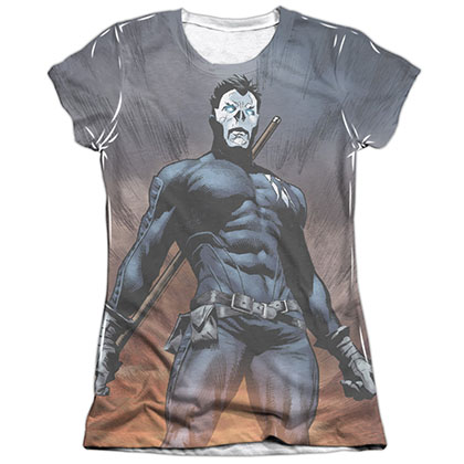 Shadowman Stand Tall White Juniors Sublimation T-Shirt