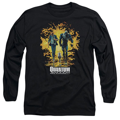 Quantum And Woody Explosion Black Long Sleeve T-Shirt