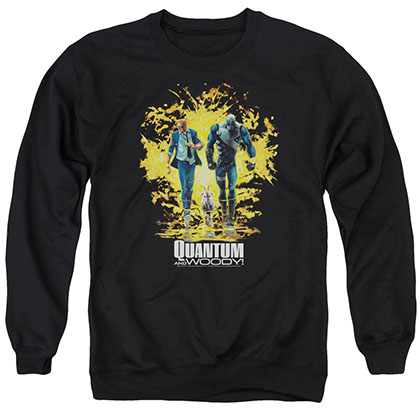 Quantum And Woody Explosion Black Crew Neck Sweatshirt