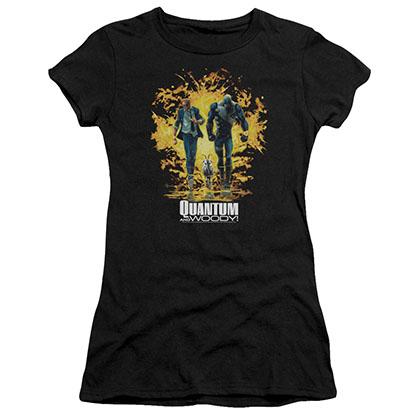 Quantum And Woody Explosion Black Juniors T-Shirt
