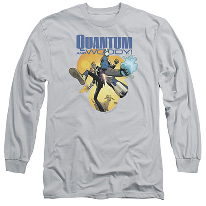 Quantum And Woody Three'S A Crowd Gray Long Sleeve T-Shirt