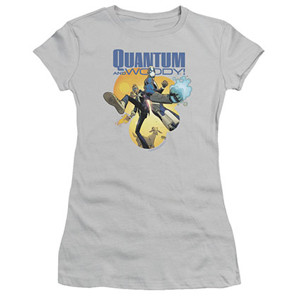 Quantum And Woody Three'S A Crowd Gray Juniors T-Shirt