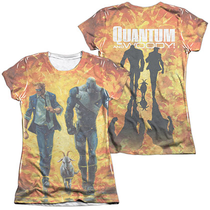 Quantum And Woody Fire It Up  White 2-Sided Juniors Sublimation T-Shirt