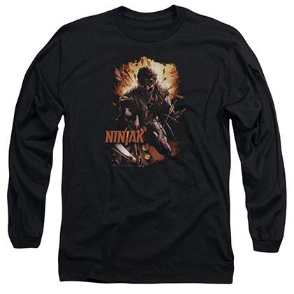 Ninjak Fiery Ninjak Black Long Sleeve T-Shirt