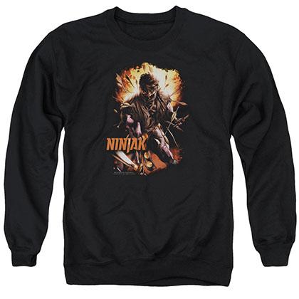 Ninjak Fiery Ninjak Black Crew Neck Sweatshirt