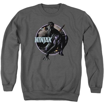 Ninjak Crouching Ninjak Gray Crew Neck Sweatshirt