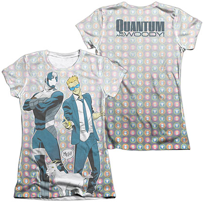 Quantum And Woody Bros  White 2-Sided Juniors Sublimation T-Shirt