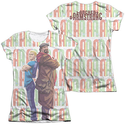 Archer & Armstrong Unlikely Team  White 2-Sided Juniors Sublimation T-Shirt
