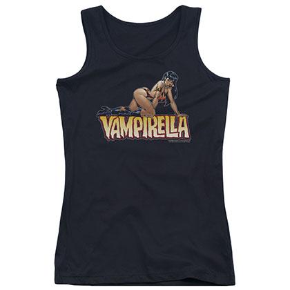Vampirella Title Crawl Black Juniors Tank Top