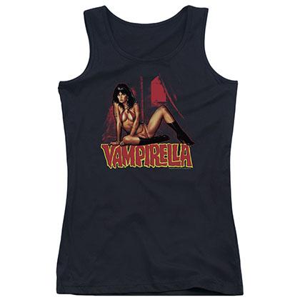 Vampirella In A Dark Room Black Juniors Tank Top