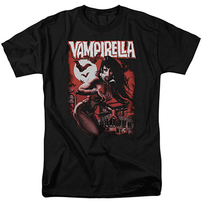 Vampirella Taking The Town Black T-Shirt