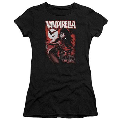 Vampirella Taking The Town Black Juniors T-Shirt