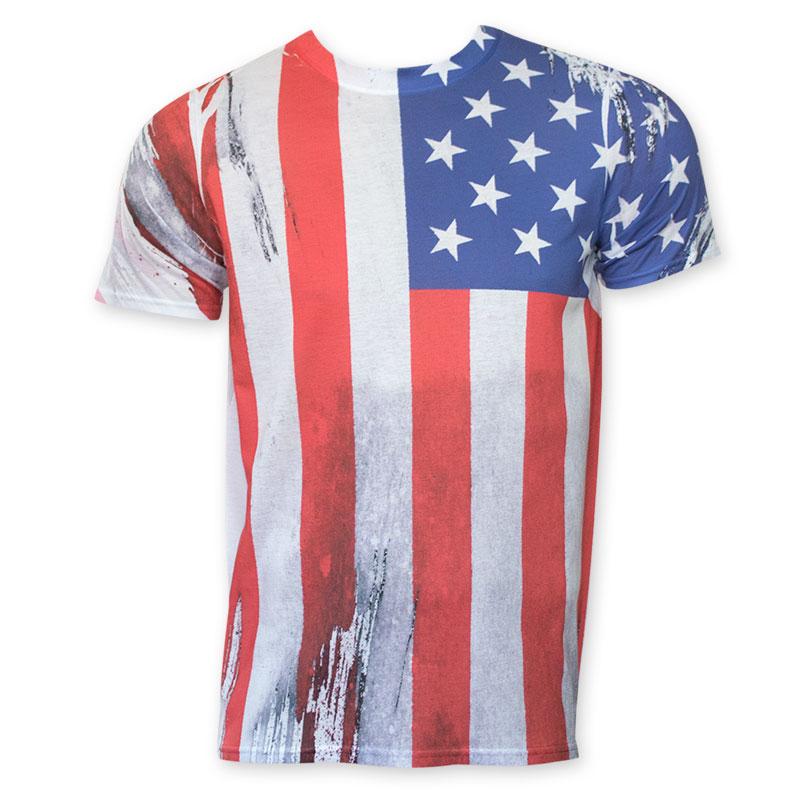 American Flag Sublimated Veritcal Print T-Shirt