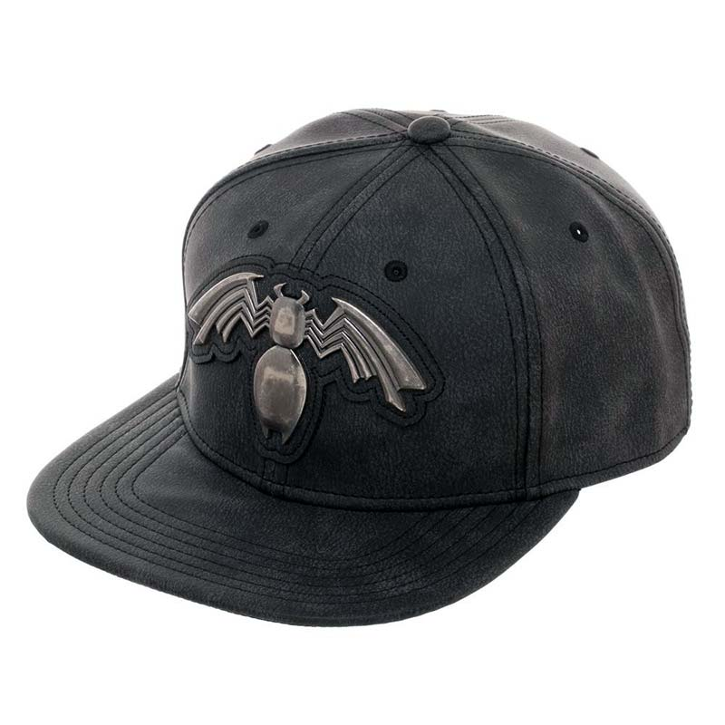 Venom Metal Distressed Black Snapback Hat